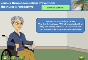 Sample screens from blood clot prevention module for nurses